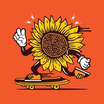 Design de personagens de skate de girassol skatista