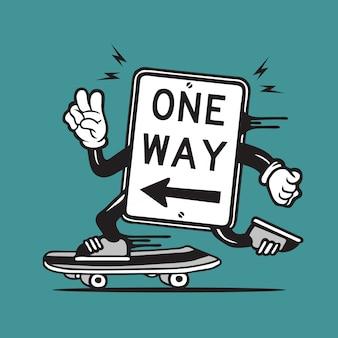 Design de personagens de skate de sinalização de estrada de sentido único skatista