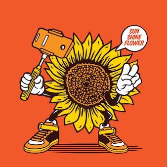 Design de personagens de sol girassol selfie