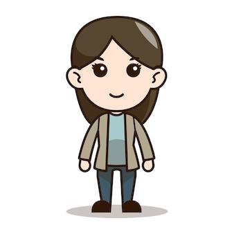 Design de personagens de sorriso menina chibi