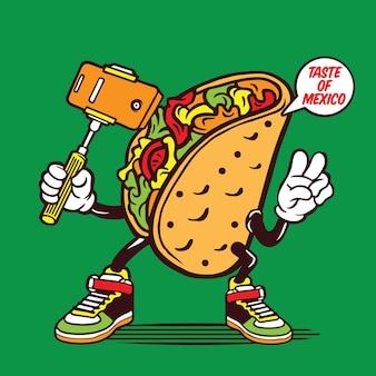Design de personagens de taco mexicano selfie