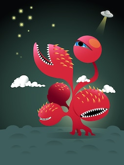 Design de personagens de um monstro vermelho