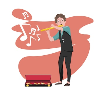 Design de personagens do flautista no desempenho
