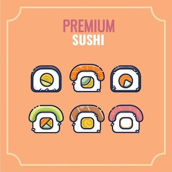 Design de personagens do japão kawaii bonito sushi comida mascote