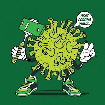 Design de personagens do selfie corona virus coronavirus covid-19