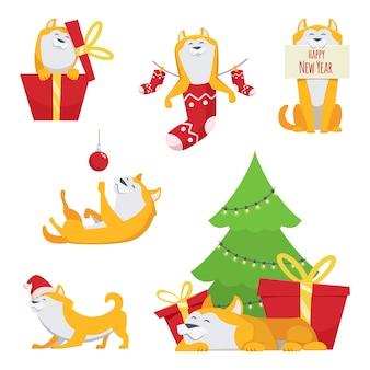 Design de personagens em estilo cartoon. cão amarelo em poses de ação. símbolo do ano de 2018. cachorro de personagem de desenho animado para ilustração de ano novo de férias