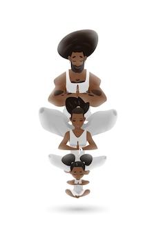 Design de personagens familiares de ioga em ambiente zen Vetor Premium