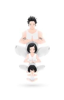 Design de personagens familiares de ioga em ambiente zen