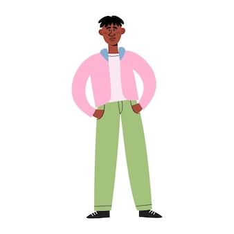 Design de personagens plana de homem negro, triste jovem americano africano em pé com as mãos nos bolsos, protestando contra o racismo.