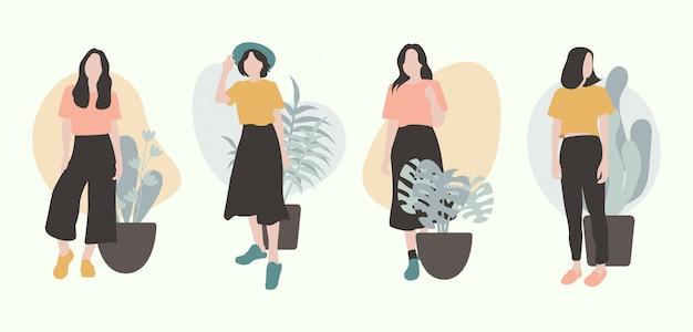 Design de personagens plana de meninas com plats