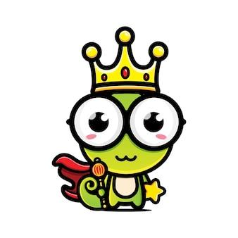 Design de personagens rei camaleão fofo