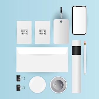 Design de pins e cartões de envelope de maquete de modelo de identidade corporativa e tema de marca