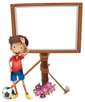 Design de placa com jogador de futebol