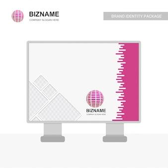 Design de placa compnay bill com vetor de logotipo do mundo