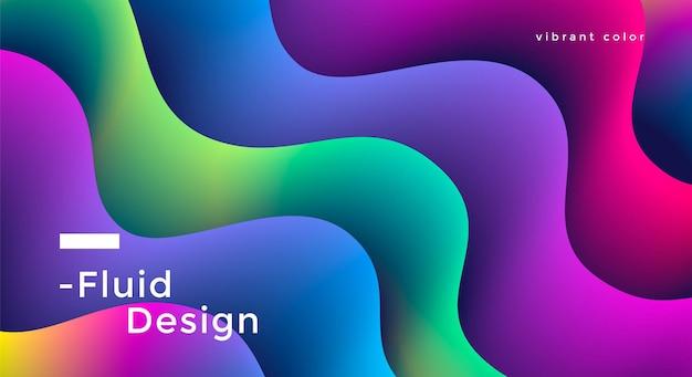 Design de plano de fundo amplo e fluido com formas de ondas coloridas vibrantes