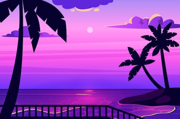 Design de plano de fundo colorido palm silhuetas