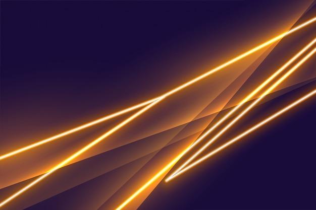 Design de plano de fundo com efeito de luz neon dourado stylight