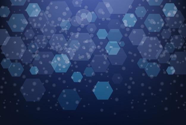 Design de plano de fundo com padrões de hexágono azul