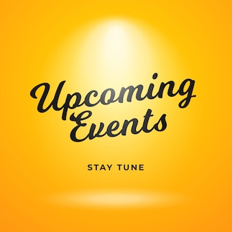 Design de plano de fundo de cartaz de eventos futuros. pano de fundo amarelo com holofotes brilhantes.