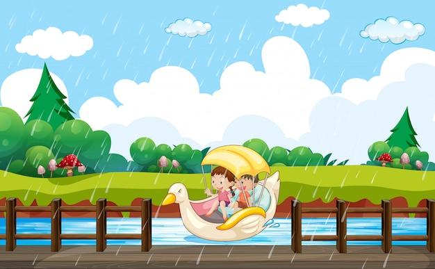 Design de plano de fundo de cena com crianças remando em barco de pato