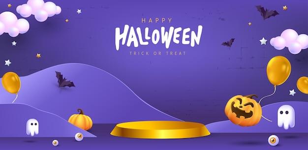Design de plano de fundo de halloween com formato cilíndrico de exibição de produto e elementos festivos de halloween