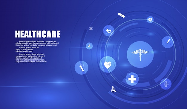 Design de plano de fundo do conceito de inovação médica de cuidados de saúde