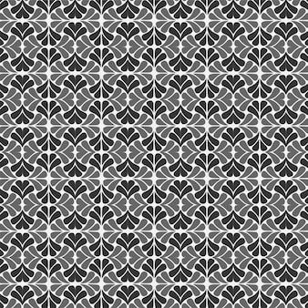 Design de plano de fundo preto e branco padrão floral sem emenda