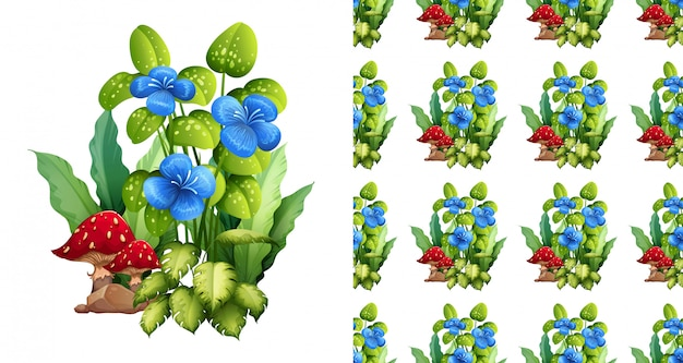 Design de plano de fundo sem emenda com flores azuis e cogumelos