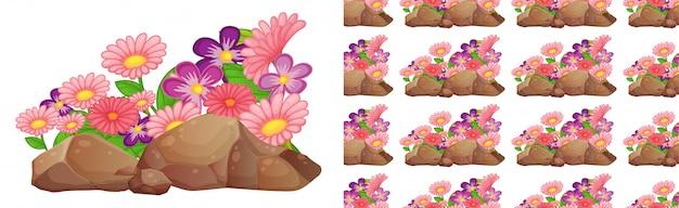 Design de plano de fundo sem emenda com flores cor de rosa e roxas gerbera