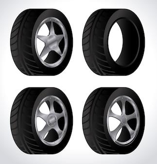 Design de pneu sobre ilustração vetorial de fundo branco