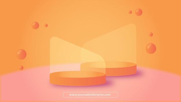 Design de pódio ou pedestal para vitrine de produto com tom quente