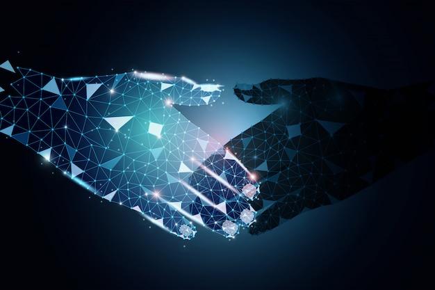 Design de polígono de parceiros de negócios, de mãos dadas