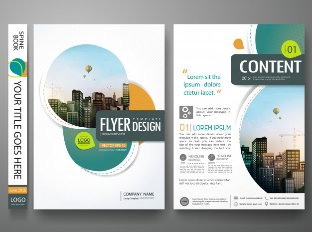 Design de portfólio de livro de capa de círculo abstrato verde