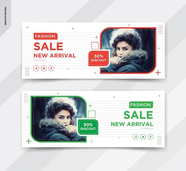Design de post de capa de facebook de venda de moda