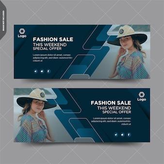Design de post de capa do facebook de venda de moda