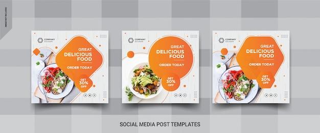 Design de post de mídia social do instagram de alimentos