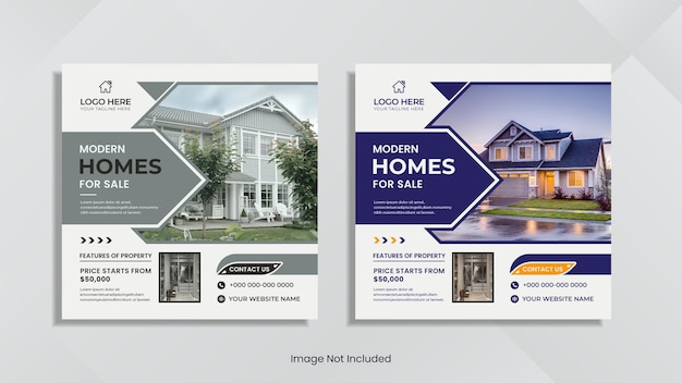 Design de postagem de mídia social imobiliária com cores e formas geométricas mínimas.
