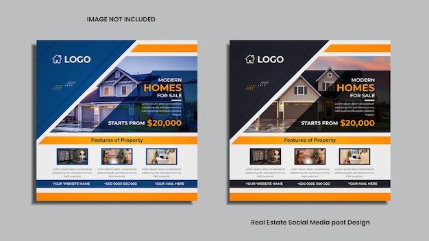 Design de postagem de mídia social imobiliária com formas, sombras e informações de propriedade nas cores azul e preto.