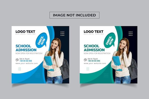 Design de postagem de mídia social para admissão escolar