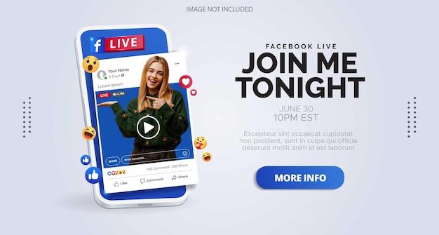 Design de postagem de mídia social sobre transmissão ao vivo do facebook