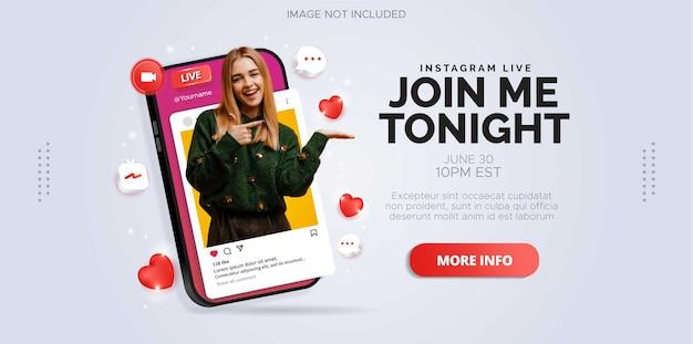 Design de postagem de mídia social sobre transmissão ao vivo do instagram