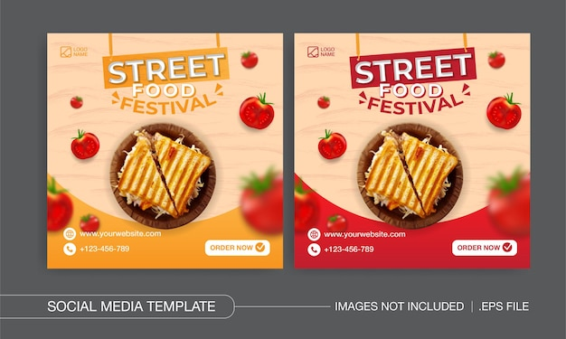 Design de postagens de mídia social para festival de comida de rua