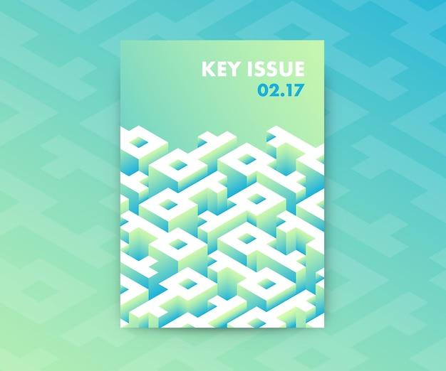 Design de pôster abstrato de gradientes fluidos com labirinto em forma de chave, conceitual moderno