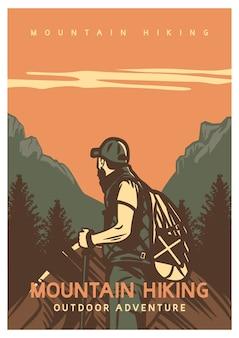 Design de pôster caminhada na montanha aventura ao ar livre com homem caminhando ilustração vintage