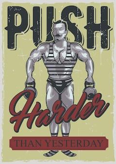 Design de pôster com ilustração de esportista vintage