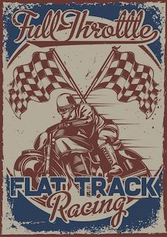 Design de pôster com ilustração de um piloto de corrida com bandeiras