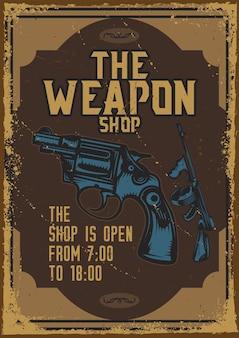Design de pôster com ilustração de uma arma