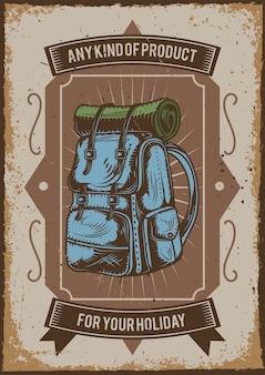 Design de pôster com ilustração de uma mochila de acampamento