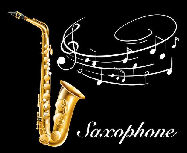 Design de pôster com saxofone e notas musicais