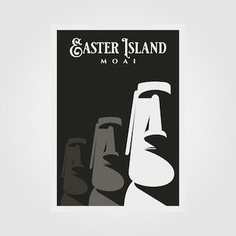 Design de pôster da estátua de moai, design de pôster de viagem do parque nacional da ilha de páscoa
